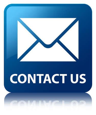 iconos contacto: P�ngase en contacto con nosotros azul brillante refleja bot�n cuadrado Foto de archivo