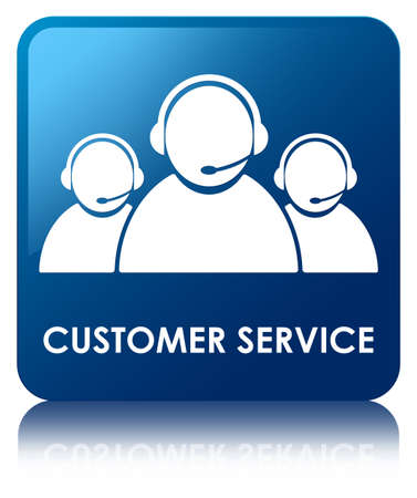 Customer service glossy blue reflected square button photo