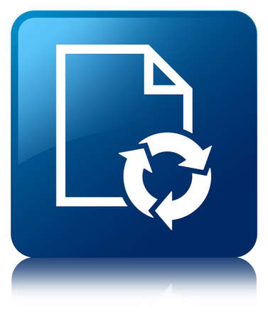 Document process glossy blue reflected square button Stock Photo - 16603607