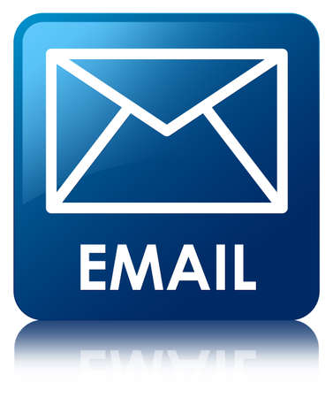 email us: Email glossy blue reflected square button