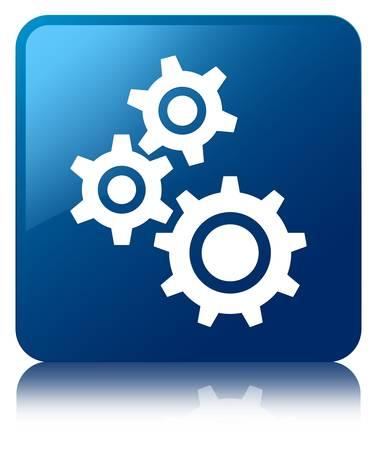 Gears icône bleue brillante reflète bouton carré