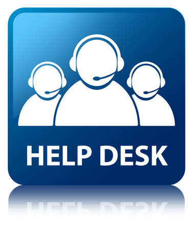 Help desk glossy blue reflected square button Stock Photo - 16603627