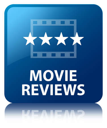 Movie reviews glossy blue reflected square button Stock Photo - 16603616