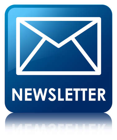 Newsletter glossy blue reflected square button photo