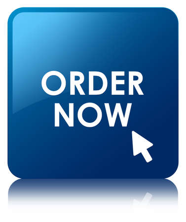 order online: Order now glossy blue reflected square button Stock Photo