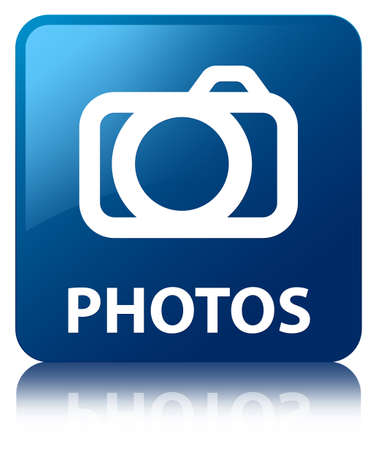 reflected: Photos glossy blue reflected square button Stock Photo