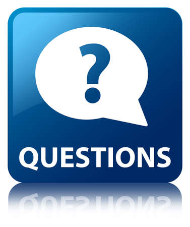 Questions glossy blue reflected square button photo