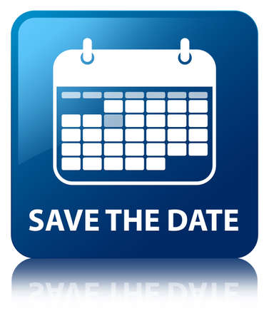Save the date glossy blue reflected square button photo