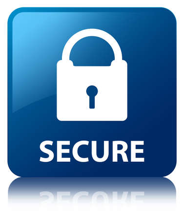Secure glossy blue reflected square button Stock Photo - 16603589
