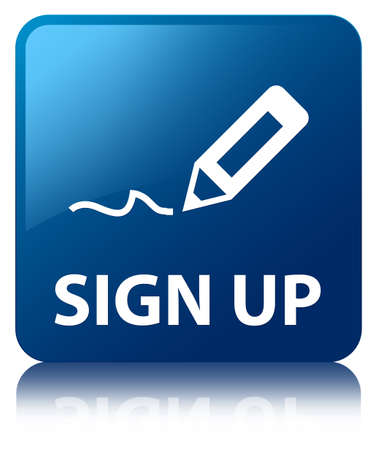sign up: Sign Up glossy blue reflected square button