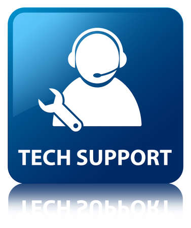 Tech Support glossy blue reflected square button photo