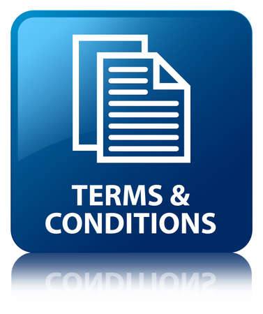 Terms   conditions glossy blue reflected square button Stock Photo