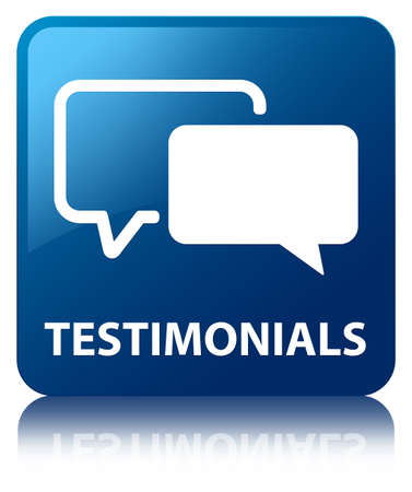 feedback icon: Testimonials glossy blue reflected square button Stock Photo