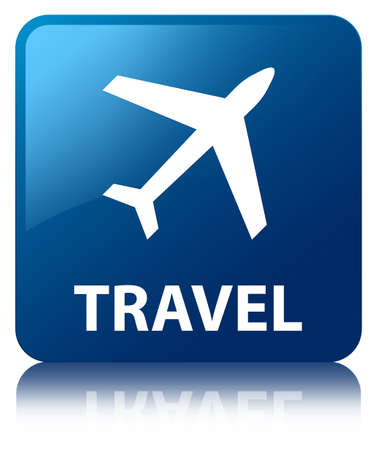 airway: Travel glossy blue reflected square button Stock Photo