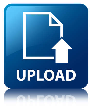 Upload glossy blue reflected square button Stock Photo - 16603593