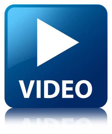 boton flecha: Azul brillante v�deo refleja bot�n cuadrado