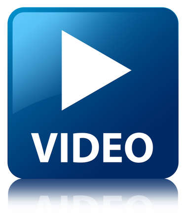 play button: Video glossy blue reflected square button