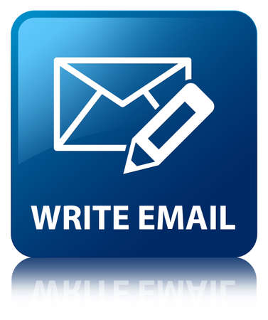 customer care: Write Email glossy blue reflected square button