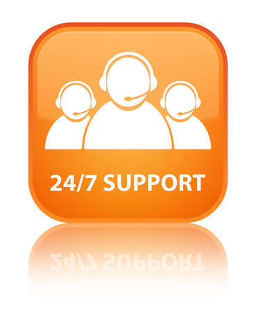 customer care: 24 7 Support glossy orange reflected square button