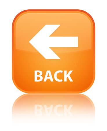Back glossy orange reflected square button Stock Photo - 16624419