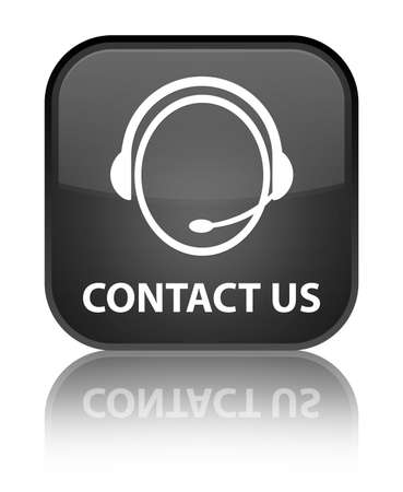 Contact us  customer care  glossy black reflected square button Stock Photo - 16624445