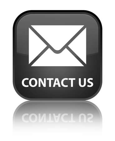 Contact us  email  glossy black reflected square button Stock Photo - 16624420