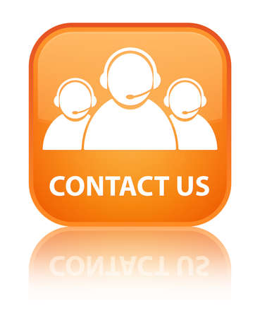 contact person: Contact us  customer care team  glossy orange reflected square button Stock Photo