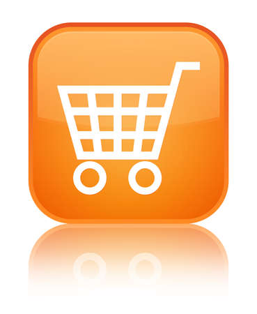 Ecommerce icon glossy orange reflected square button Stock Photo - 16624427
