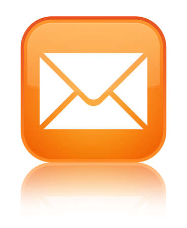 Email icon glossy orange reflected square button Stock Photo - 16624409