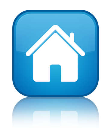 Home icon glossy blue reflected square button photo