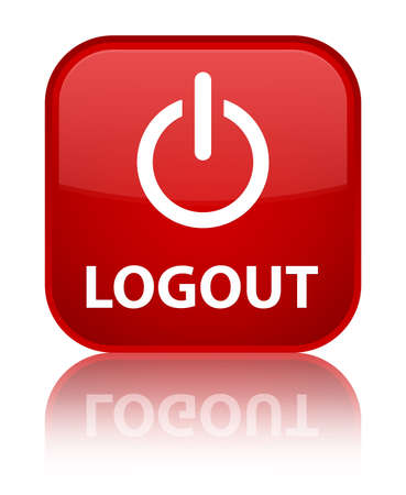 logout: Logout glossy red reflected square button