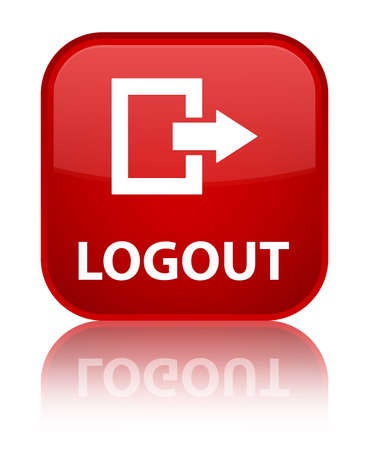 log off: Logout glossy red reflected square button