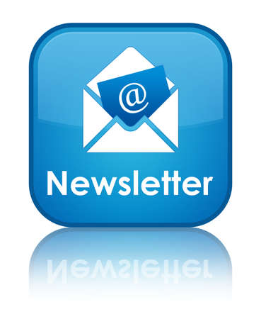 Newsletter glossy blue reflected square button Stock Photo