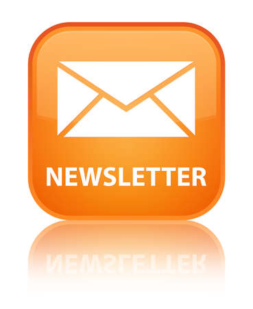 Newsletter glossy orange reflected square button photo
