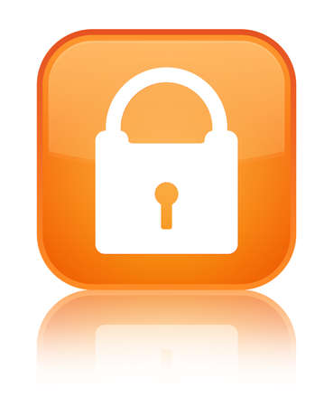 Padlock icon glossy orange reflected square button photo