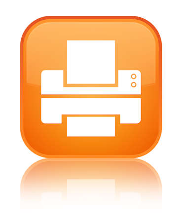Printer icon glossy orange reflected square button photo