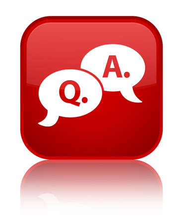 Question Answer icon glossy red reflected square button Stock Photo - 16624439