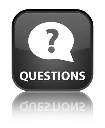 Questions glossy black reflected square button photo