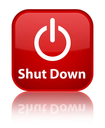 Shutdown  power off icon  glossy red reflected square button Stock Photo - 16624456
