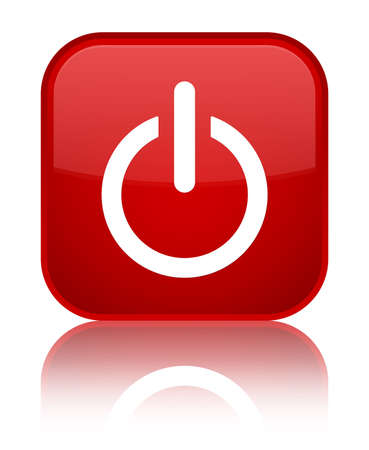 Power icon glossy red reflected square button photo
