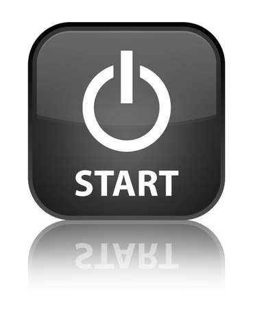 Start  power icon  glossy black reflected square button Stock Photo