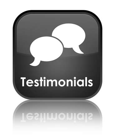 Testimonials glossy black reflected square button photo