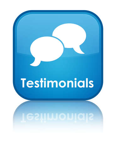 review icon: Testimonials glossy blue reflected square button Stock Photo