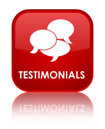 Testimonials glossy red reflected square button photo