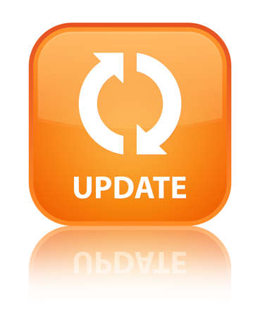 Update glossy orange reflected square button photo