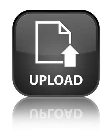 Upload glossy black reflected square button Stock Photo - 16624411