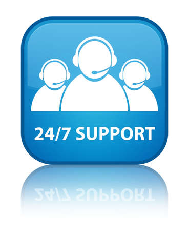 24 7 support glossy blue reflected square button photo
