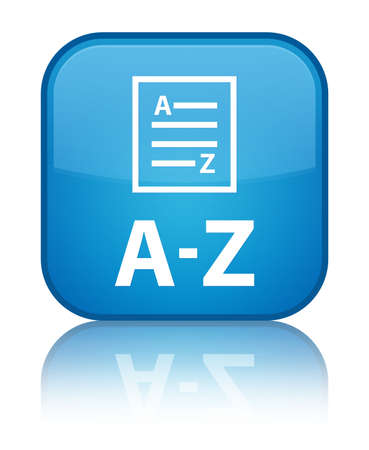 az: A-Z glossy blue reflected square button