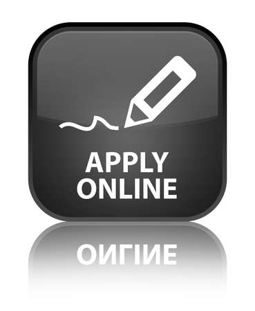 Apply online glossy black reflected square button Stock Photo - 18570031
