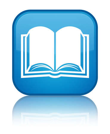 Book icon glossy blue reflected square button Stockfoto